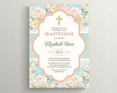 Baptism Invitation \ Girl Invitation \ Shabby Chic \ Printable Invitation (CH16)