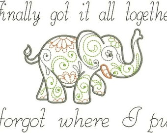 Embroidered Flour Sack Towel or Huck Towel - Forgetful Elephant