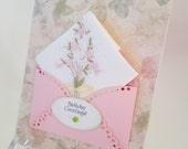 Lovely Vintage Embroidered Handkerchief Pink Blossoms Friend Birthday Friendship Thinking Of You Hanky Keepsake Card