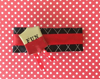 hair barrette, hair accessory, hair clip, hair bow - barrette with black ribbon, red satin ribbon, red dot ribbon and fun tin shape