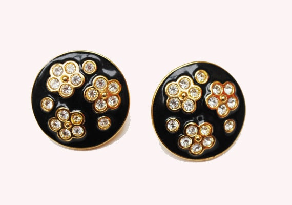 Avon Pierced Earrings - Black Enamel - rhinestones - gold - flowers -stud earrings