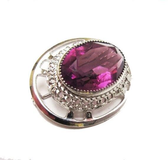Sterling Brooch - Amethyst  Purple Glass - Danecraft signed -