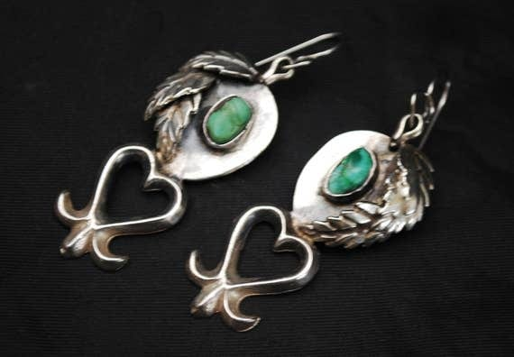 Silver Green Turquoise dangle earrings - heart leaf - Native American South western - pierced earrings