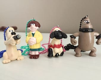 Four Wallice and Gromit Necklaces