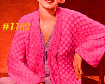 Almost FREE Vintage 1930s Lovely Kimono Cardigan #1182 PDF Digital Crochet Pattern