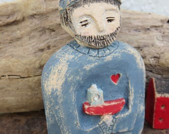 Ceramic Primitive Doll figure Beardy Bob