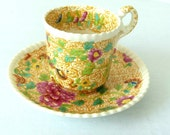 Copeland Late Spode Demitasse Cup & Saucer - Yellow Transferware - Asian Design- Flowers and Birds
