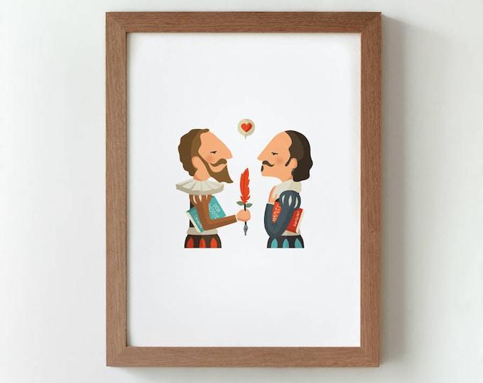 """Ilustración """"Cervantes & Shakespeare""""."""