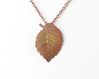 Copper Leaf Necklace - Leaf Pendant - Woodland Jewellery - Nature Necklace - Nature Jewellery - Copper Jewellery - Gift for Her