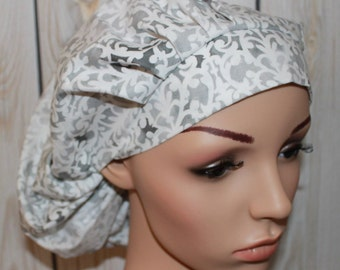 White with Gray Flower Shop,Bouffant Women's Scrub Hat, Surgical Scrub Hat, OR Nurses Scrub Hat, Scrub Cap