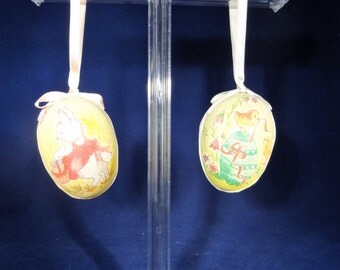 Set of Two Spring Decorative Hanging Eggs, Hanging Easter Eggs, Whimsical Hanging Eggs
