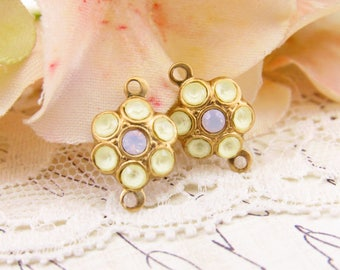 Vintage Style Matte Yellow and Rose Opal Swarovski Rhinestone Flower 2 Ring Connectors Brass Settings 15x10mm - 2