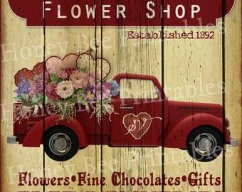 Primitive Valentine Flower Shop Old Red Truck Printable Digital Feedsack Logo JPEG Instant Download - Labels Prints Cards Tags Tavern Signs