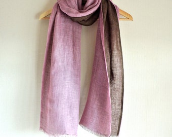 Natural dyed pink, Cochineal and brown Olive double faced Linen scarf