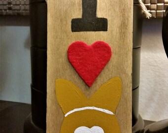 I Heart (Love) Corgi Butt - Hand-painted Wooden Sign w/ Cogi & Red Felt Heart