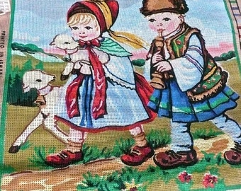 Needlepoint Canvas - Printd Needlepoint - Gobelin Embroidery - Large Needlepoint Picture - Children With Lambs - Embroidery Printed Canvas