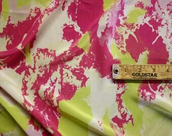 "Green Pink White Print Silk Fabric 43"" Wide Per Yard"