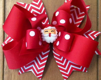 Girl's Christmas Hair Bow, girls, babies, toddlers, ribbons, bows, french barrette, Santa Claus Hair Bow