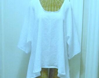 Beachcomber Blouse Cotton Gauze Medium, Large, 1x, 2x, 3x, 4x White or Black Half Sleeves
