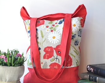 Reusable Shopper bag, Shopping Bag, market bag, canvas beach bags, custom travel bag, Linen shoulder bag, Summer  bags, with pockets,