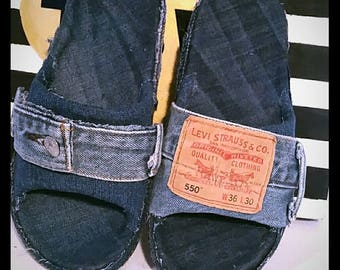 DENIM SLIDES LEVIS 550 2 Toned Slides So Comfortable Denim Slides Denim Sandals Hand made
