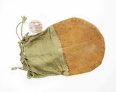 Vintage, Small Leather Coin Purse or Marble Bag - With Drawstring Top - Handy and Small For a Small Collection, Tokens, Coins, Etc.