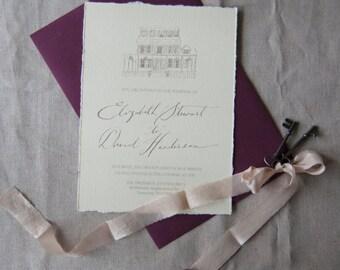 Venue Sketch Wedding Invite + RSVP & Envelopes