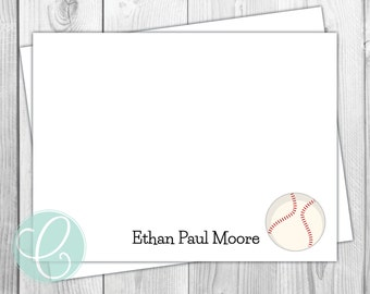 Baseball Boys Note Cards - Stationery - Sports Boy Flat Note Cards - Set of 12 - Personalized Birthday Thank You Cards - Baby Little Boy