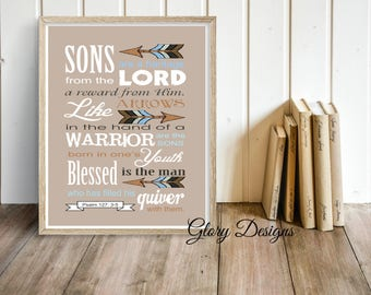 Printable, Father's Day, Bible Verse, Scripture art, Psalm 127:3-5, Sons are a Heritage from the Lord, Scripture printable, Instant Download