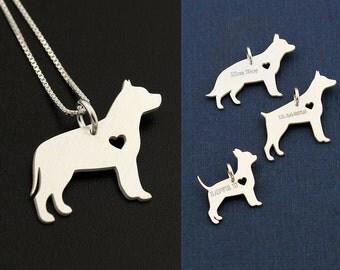 Pit Bull  necklace sterling silver dog breeds pendant w/ Heart - Love Pet Jewelry Italian chain Women Best Cute Gift , Memorial Gift