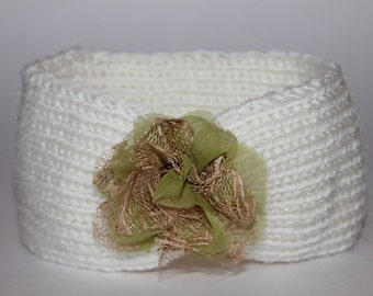 Baby Knit Headband, Baby Ear Warmers, Toddler Knit Headband, Toddler Knit Ear Warmers, Christmas Gift - Cream Green READY TO SHIP