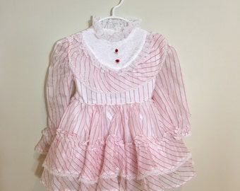 80s Miss Quality White and Red Pin Striped Ruffle Pinafore Dress, Baby Girls Size 12 to 18 months