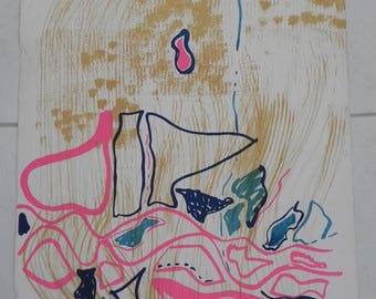 """Abstract Composition Fisherman's Yarn Artist Proof Color Lithograph 22"""" x 30"""" Signed Lila Pell Katzen 1970s"""
