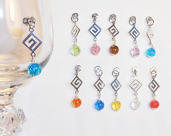 Greek Key Wine Glass Charms, Stemless Wine Charms, Holiday Wine Glass Charms, Magnetic Wine Charms, Greek Key Wine Charms, Hostess Gifts