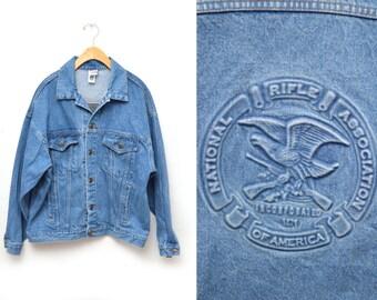 80s National Rifle Association Denim Jacket Men's Size Medium