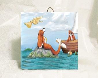 Mersett (Mermaid Basset) Wall Tile, Dog Lover Art, Dog Lover Gift, Unicorn, home decor, Kitchen Tile, basset hound, basset lover