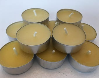 beeswax tea lights 10 pack 100% pure beeswax honey natural scent