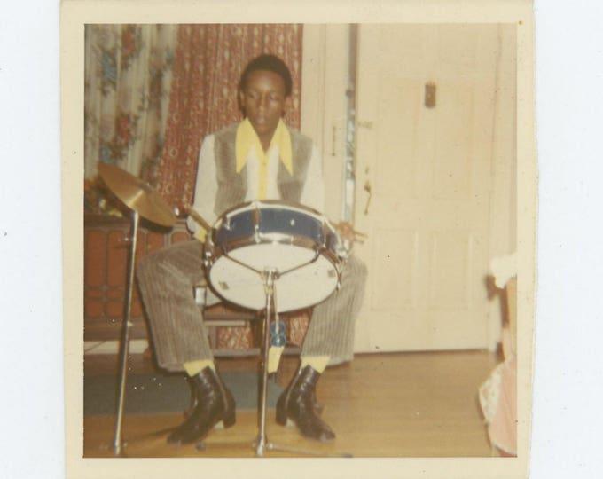 Vintage Snapshot Photo: Drummer, c1970s (73554)