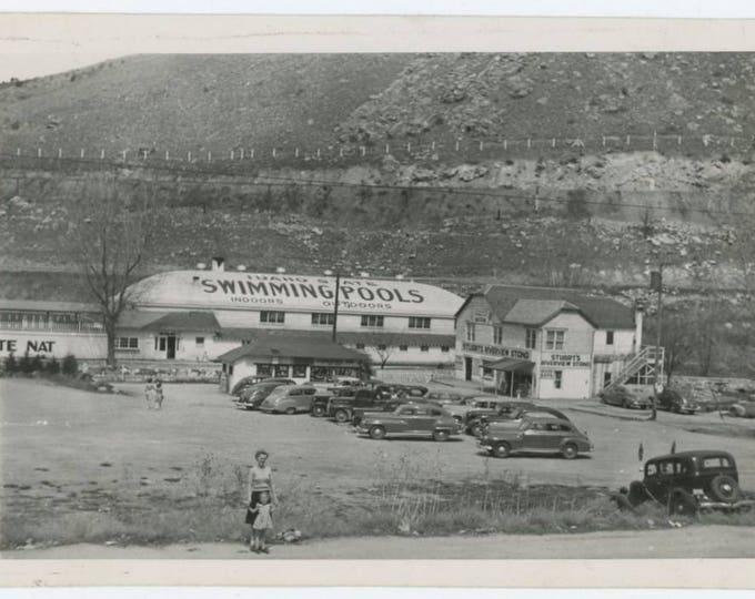 Vintage Snapshot: Woman & Small Girl; Swimming Pool, Parking Lot, Idaho, c1940s (74565)
