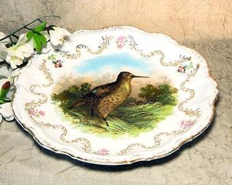 Antique Porcelain Moschendorf Bavarian Round Game Bird Platter