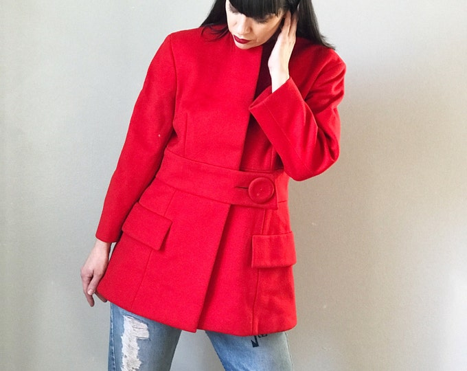 Vintage 60s Pauline Trigère Red Wool Coat
