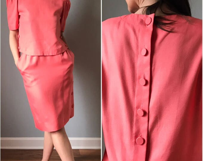 Vintage 80s Coral Linen Skirt Suiting Separates