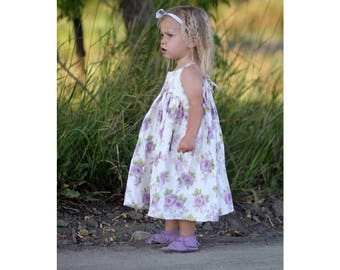 Girls Lilac Floral Cotton Sundress Made to Order in sizes 12 mo - 10 years