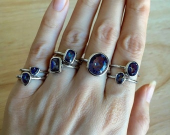 Mystic Topaz Ring- Stackable Gemstone Unique Ring- Midi Pinky Knuckle Sterling Silver Ring- Bohemian Jewelry- Boho Unique Stone Ring