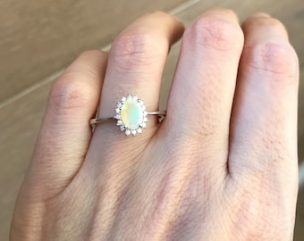 Oval Opal Engagement Ring- Genuine Opal Promise Ring- Bridal Wedding Gemstone Ring- Solitaire Halo Fire Opal Ring- October Birthstone Ring