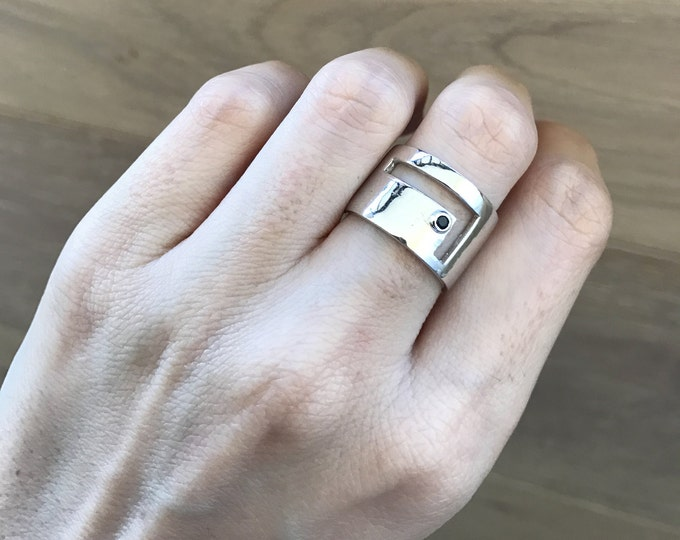 Geometric Statement Wide Band- Cut Out Blue Sapphire Ring- Minimalist Cigar Band Ring-Sterling Silver Unique Ring-Unisex Men Woman Band Ring