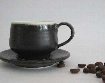 Matt black expresso cup and saucer, White expresso cup and saucer, White and Black Expresso cups and saucers