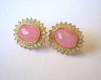 Butler Earrings Rose Quartz Cabochon Clear Rhinestones Pierced Fifth Avenue Vintage