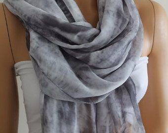 Christmas Gift Holiday Gift Scarf, Grey Scarf Chiffon Scarf Fall Scarf Grey Scarf Lightweight Scarf Gift For Her