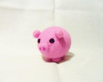 Needle Felted Pig -  miniature pig figure - 100% merino wool - Pig With Attitude - wool felt pig - pocket pig - felt pig